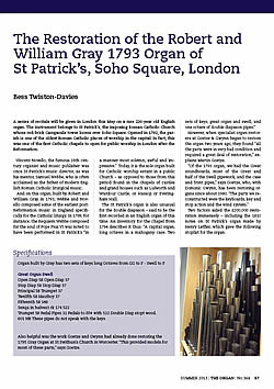 the Robert and William Gray 1793 Organ of St Patrick�s, Soho Square, London